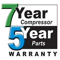 7 year compressor 5year parts Warranty.